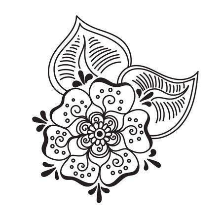 sacral symbol: Vector abstract pattern of tattoo henna flower. Stock mehndi illustration for design on white background.