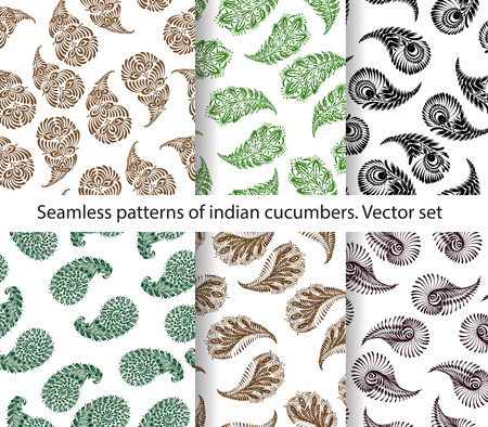 cucumbers: Vector set of seamless indian cucumbers patterns. Stock mehndi illustration for design