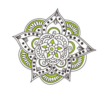 mendie: abstract pattern of tattoo henna flower. Stock mehndi illustration for design on white background.