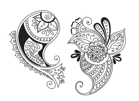 sacral symbol: Vector abstract pattern of tattoo henna cucumbers. Stock mehndi illustration for design on white background.