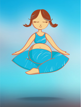 mind body soul: Flying meditating pregnant woman. Stock illustration for design