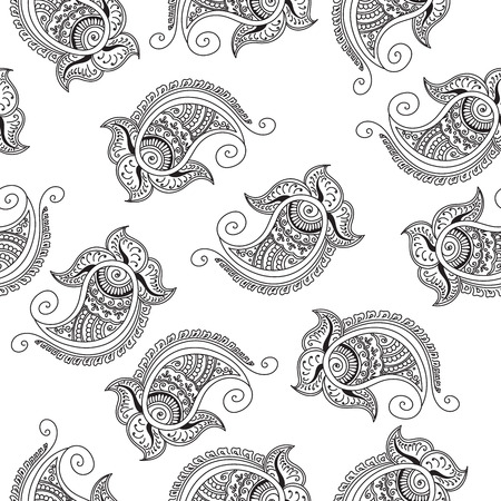 cucumbers: Seamless indian cucumbers pattern. Stock mehndi illustration for design