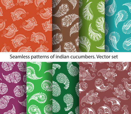 cucumbers: set of seamless colorful indian cucumbers patterns. Stock mehndi illustration for design