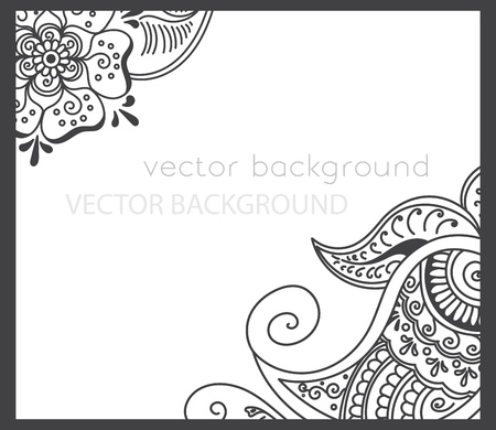 grey abstract background: abstract spring background with henna patterns. Stock mehndi illustration for design Illustration