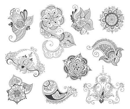 henna background: abstract patterns of tattoo henna. paisley and flower. Stock mehndi set for design on white background.