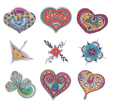 omkara: abstract pattern of tattoo henna. Stock mehndi set for design on white background.