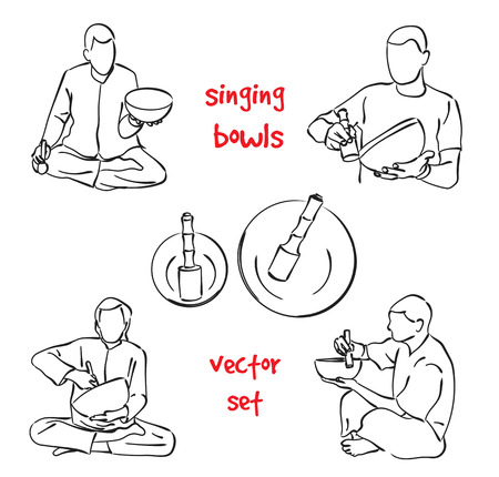 singing bowls: Musician playing tibetan singing bowls. silhouette set on white background.