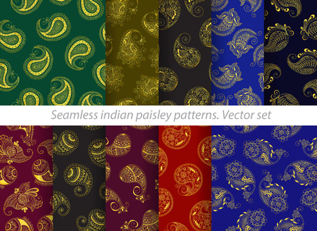 set of seamless indian paisley pattern. Stock mehndi illustration for design - indian cucumbers background. Illustration