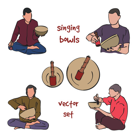 Musician playing singing bowls. silhouette set on white background.