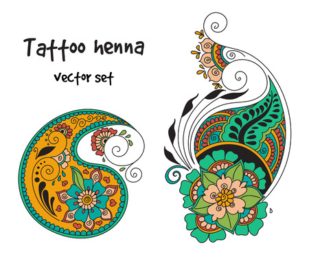 mendie: abstract pattern of tattoo henna paisley. Stock mehndi illustration for design on white background - indian cucumbers. Illustration