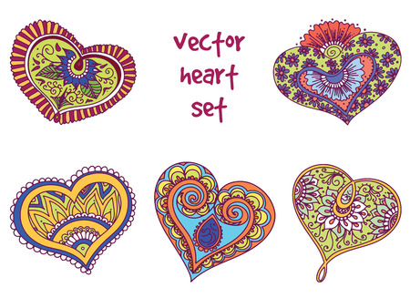 heart chakra: abstract pattern of tattoo henna hearts. Stock mehndi set for design on white background.