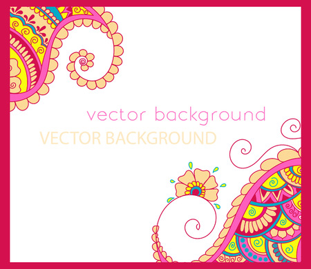abstract ethnic background with henna patterns. Stock mehndi illustration for design