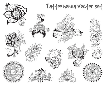 mendie: abstract patterns of tattoo henna. paisley and flower. Stock mehndi set for design on white background.