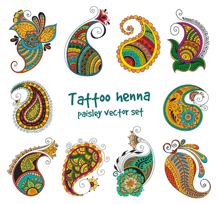 abstract pattern of tattoo henna paisley. Stock mehndi illustration for design on white background - indian cucumbers. Illustration