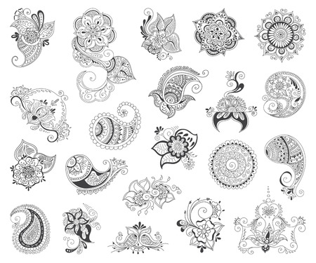 abstract patterns of tattoo henna. paisley and flower. Stock mehndi set for design on white background.