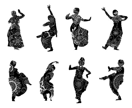 kathak: Isolated black silhouettes of indian dancers in mehndi style. stock illustration for design on white background