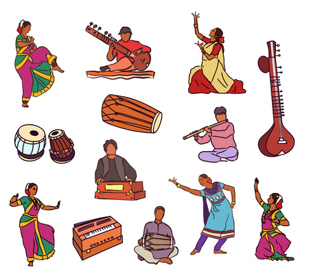 Isolated indian dancers, musicians and instruments
