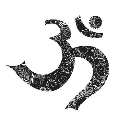omkara: Isolated omkara symbol in mehndi style. illustration. Illustration