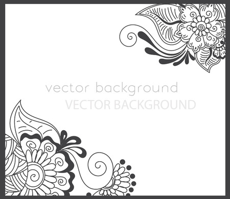 mendie: Vector abstract spring background with henna patterns. Stock mehndi illustration for design