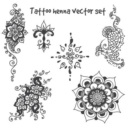 Vector abstracte patronen van henna tattoo. paisley en bloem. Stock mehndi instellen voor ontwerp op een witte achtergrond.
