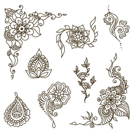 Vector abstract patterns of tattoo henna. paisley and flower. Stock mehndi set for design on white background. Illustration