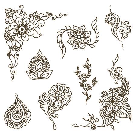 Vector resumen los patrones de tatuaje de henna. Paisley y de la flor. Stock mehndi establecido para el diseño sobre fondo blanco. Ilustración de vector