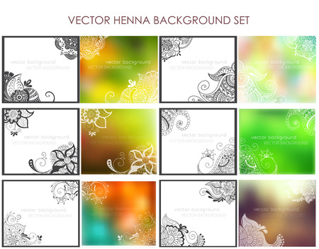 Vector set of abstract ethnic background with henna patterns. Stock mehndi illustration for design Illustration