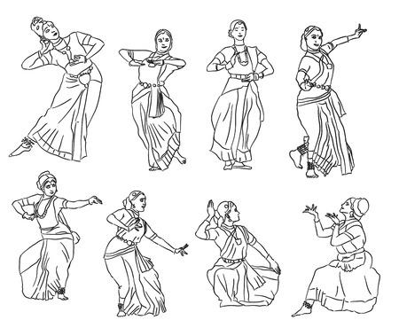 sari: Isolated contour silhouettes indian dancers. Vector set