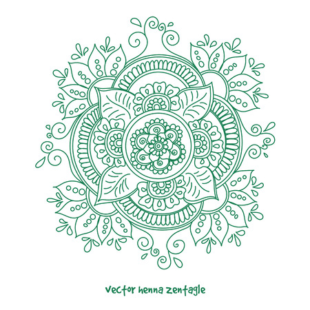 Vector abstract mandala of tattoo henna. Isolated zentagle for design on white background.
