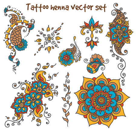 mendie: Vector abstract patterns of tattoo henna. paisley and flower. Stock mehndi set for design on white background. Illustration