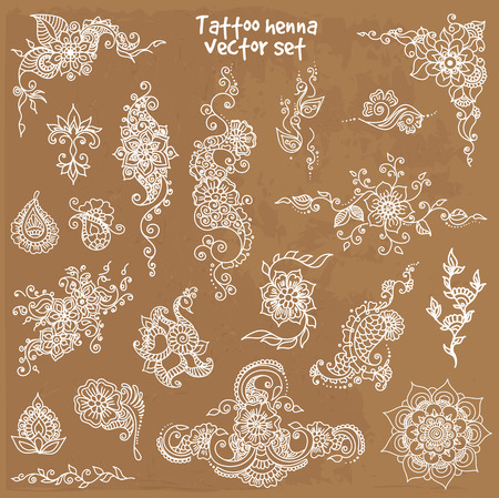 Vector abstract patterns of tattoo henna. paisley and flower. Stock mehndi set for design. Illustration