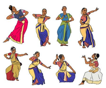 Isolated indian Kuchipudi and Kathak dancers