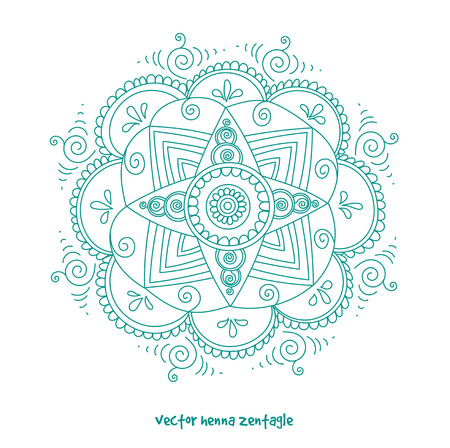 abstract mandala of tattoo henna. Isolated for design on white background.