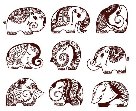 indian elephants set. Stock mehndi set for design on white background.