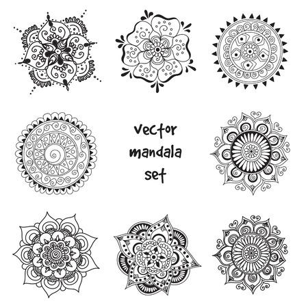 set of abstract tattoo henna mandala. Isolated zentagle for design on white background.