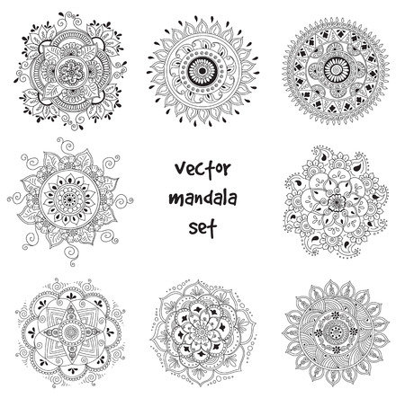 set of abstract tattoo henna mandala. Isolated for design on white background.