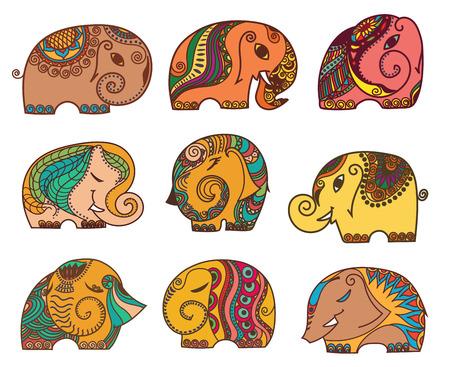 mendie: indian elephants set. Stock mehndi set for design on white background.