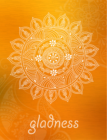 abstract mandala background with henna patterns. Stock mehndi illustration for design Illustration