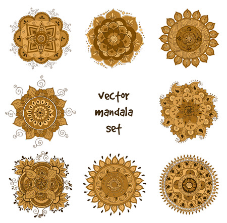 Vector set of abstract tattoo henna mandala. Isolated zentagle for design on white background.