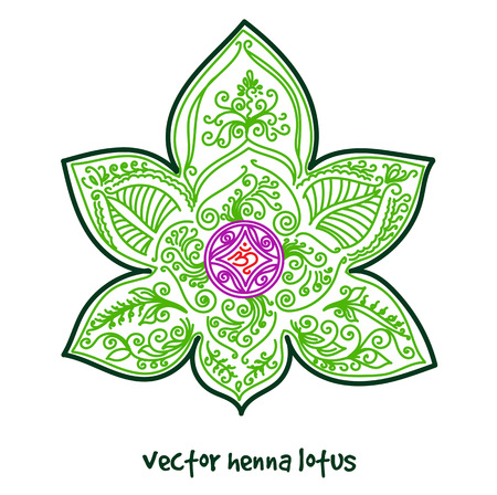 Vector abstract lotus of tattoo henna. Isolated zentagle for design on white background.