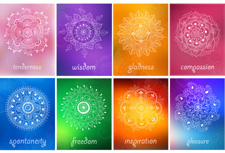 mendie: Vector set of abstract mandala background with henna patterns. Stock mehndi illustration for design