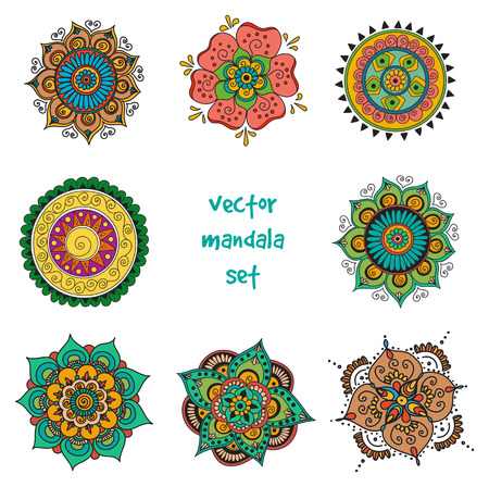 mendie: Vector set of abstract tattoo henna mandala. Isolated zentagle for design on white background.