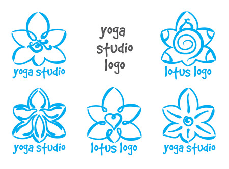 set of abstract lotus yoga . Isolated for design on white background Illustration