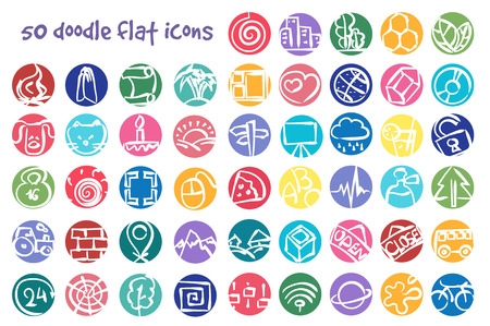 doodle icons set. Stock cartoon signs for design. Illustration