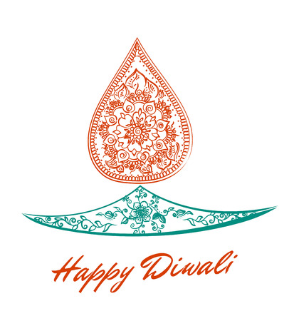 abstract oil lit lamp with henna patterns. Illustration for indian festival of lights, Happy Diwali celebration. Stock design on white background.