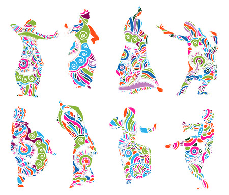 Isolated color silhouettes of indian dancers in mehndi style. stock illustration for design on white background