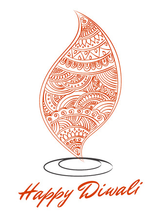 deepawali backdrop: abstract oil lit lamp with henna patterns. Illustration for indian festival of lights, Happy Diwali celebration. Stock design on white background.