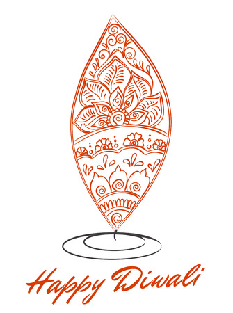 lit lamp: abstract oil lit lamp with henna patterns. Illustration for indian festival of lights, Happy Diwali celebration. Stock design on white background.