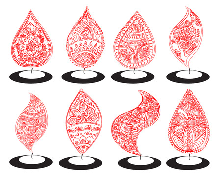 lit lamp: set of abstract oil lit lamp with henna patterns. Illustration for indian festival of lights, Happy Diwali celebration. Stock design on white background.