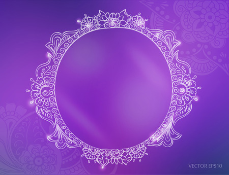 mendie: round tattoo henna frame. Background for design Illustration